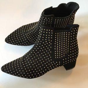 TOPSHOP Black & Gold Ankle Boots